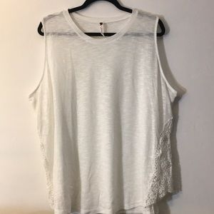 NWOT white muscle tee with crochet side detailing